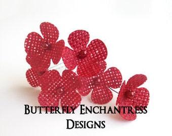 Red Rustic Wedding, Burlap Hair Accessories, Woodland Bridal Hair Pins - 6 Red Burlap Hydrangea Hair Flowers