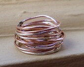 Simply Skinny Rustic Sterling Silver and Rose Gold Stacking Rings - Set of 12