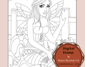 Digital Stamp - Printable Coloring Page - Fantasy Art - Fairy Stamp - Charlotte - by Nikki Burnette - COMMERCIAL USE