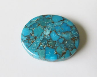 Blue Copper Turquoise - Oval Cabochon, 26.60 cts