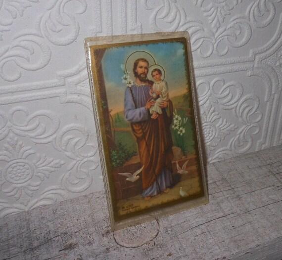 Vintage death  prayer  Saint Joseph card prayer to departing souls