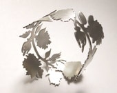 New York State Floral Rose Silhouette Cuff Bracelet