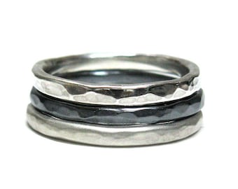 Hammered Silver Stacking Rings.