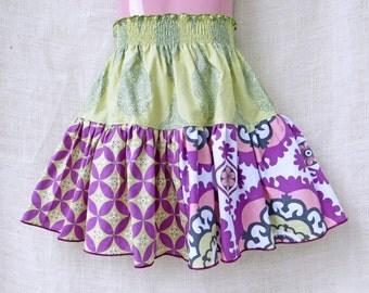 size: 5T- Boutique Girls Skirt - BOHO FLORAL Triple Twirl Skirt