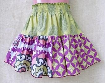 size: 4T- Boutique Girls Skirt - BOHO FLORAL Triple Twirl Skirt