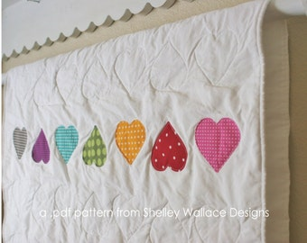 PATTERN for A Little Love Baby Quilt with hearts - digital .PDF download