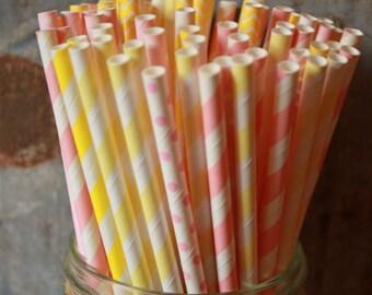 Pink Lemonade Paper Straws Set of 30 - choice of light pink or hot pink