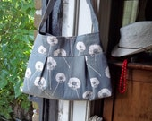 Grey Linen Purse - Dandelions - 3 pockets - Key Fob