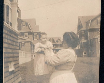 vintage photo Proud Mother w Her little Baby