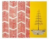 Mixed Media Pine Tree Art on Wood, Block Printed Chevron Pattern, Original Art by Erin Lang Norris.