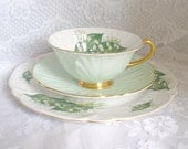 Reserved for YP Vintage Shelley Footed Oleander Lilly of The Valley Teacup Saucer and Plate