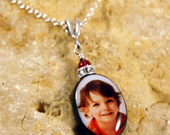 Oval Mother of Pearl Custom Photo Necklace with Sterling Findings and Swarovski Rondell