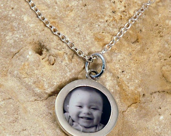 Sterling Silver Circle Custom Photo Charm on a Sterling Cable or Ball Chain