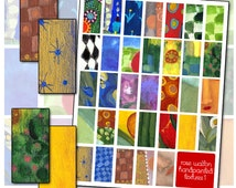 Abstract Textures Hand Painted Domino size digital collage sheet 1x2 25mm x 50mm altered art