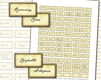 Miniature Dollhouse Antique Spice and Herb labels digital collage sheet kitchen apothecary medicine 25mm x 12mm 1 x .5 inch