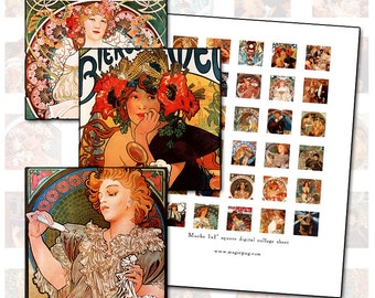 "Alphonse Mucha inchies size 1x1 1"" inch square digital collage sheet Art Nouveau poster art 25.4mm x 25mm"