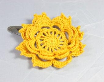 Crochet Hair clip Goldenrod