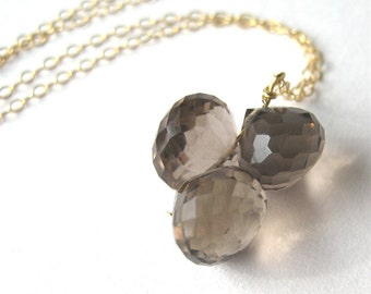 Smoky Quartz Necklace, Gray Quartz Onion Briolette Cluster Gemstone Pendant Necklace, Gold Chain, Handmade, Allen