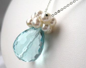 Light Blue Pendant Necklace, Pearl Cluster Silver Chain Necklace, Aqua Quartz Faceted Teardrop, Handmade, Clarissa