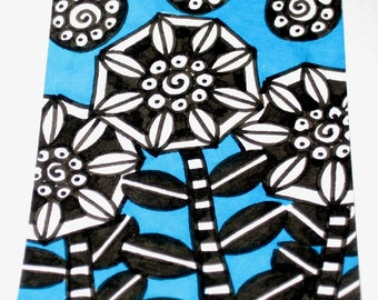 Original Drawing ACEO Black and White Flowers Turquoise Background Design