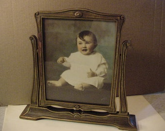 Antique Baby Portrait Picture Photo in Frame 1930s child photograph vintage Ishigura home shabby decor collectible cottage chic Mid Century