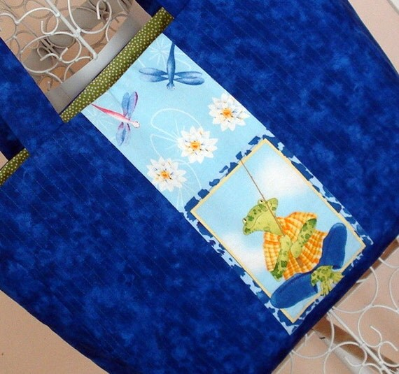 Royal Blue and Frog Lined Tote Bag, Green, Polka Dots, Machine Quilted, Beach Bag, Market Bag, Commuter Bag, Frog Lover