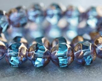 Aquamarine Bronze 8mm Czech Glass Baroque Bead : LAST 10 pc Aqua Czech Central Cut Bead