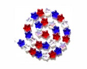 Patriotic Star Beads Red White Blue Glass Beads Big size 4th of July Memorial Day VOTE 90 pieces