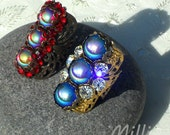 Milli Large Ring with Sapphire AB Cabochon and Swarovski Clear Crystal Rhinestones, FREE SHIPPING in lower 48 states.