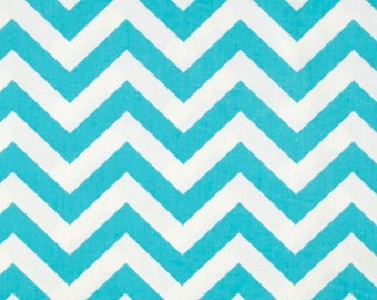 Girly blue chevron curtain set panels and valance.