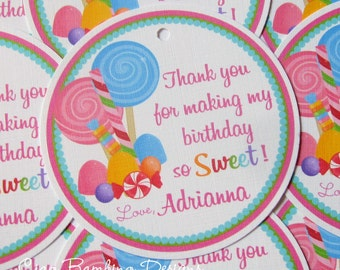 Lollipop Birthday Party Favor Tags or Stickers / Sweet Shoppe Party / Candyland Party / Set of 12