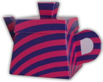 Alice in Wonderland Cheshire Cat Striped Teapot Gift Box Printable Color Template Digital PDF (custom colors available) Version 2