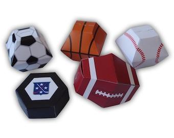 Sports Themed Gift Box Favors Party Printables Color Templates Digital PDF (basketball, soccer ball, baseball, football, and hockey puck)