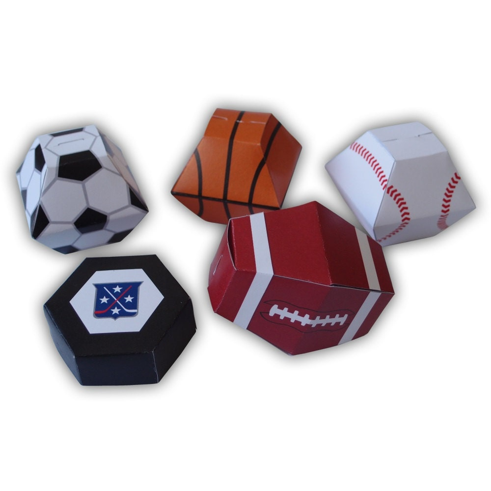 Sports Themed Gift Box Favors Party Printables Color Templates
