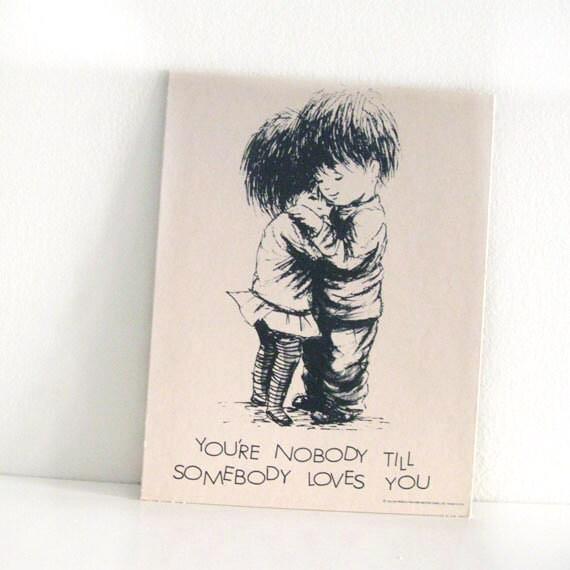 "Large Vintage Fran Mar Moppets 1970s Postcard Print Love Hug 7"" x 9"""