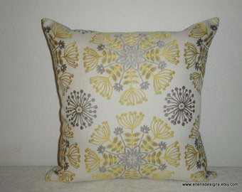 Decorative-Accent-Throw Pillow Cover-Free US Shipping-18 Inch Gray/Taupe Yellow Cream Kaleidscope