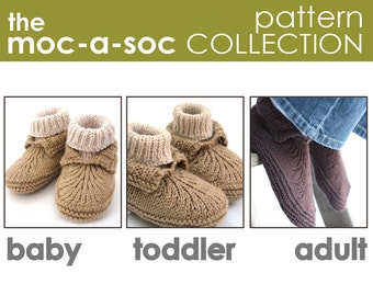 The Moc-a-Soc Pattern Collection:  Baby, Toddler, and Adult Slipper PATTERNS