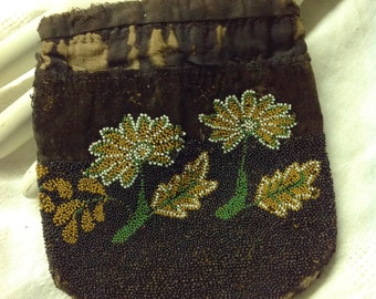 Antique Beaded Purse Handbag 1900s 1910s Beads Flowers FREE SHIPPING