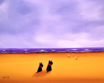 Scottish Terrier dog print by Todd Young SCOTTIE BEACH