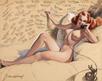 8x11 Print - Sale - BRADSHAW CRANDELL 40s Redhead Nude Vintage Phone Art Deco Pin-Up - Cosmopolitan Illustrator of 40s - Pinup