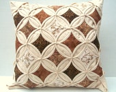 15% OFF SALE Decorative Pillow Cover Throw Pillow Brown Beige Batik Cathedral Window 18 Inch