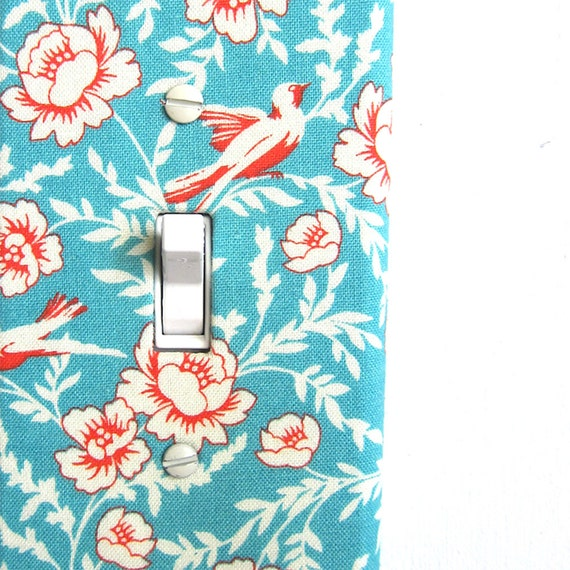Items similar to Light Switch Plate Cover, wall decor - blue with white flowers with red accents ...