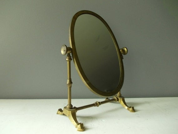Standing Vanity Mirror Vintage Brass By NorthernScoutVintage