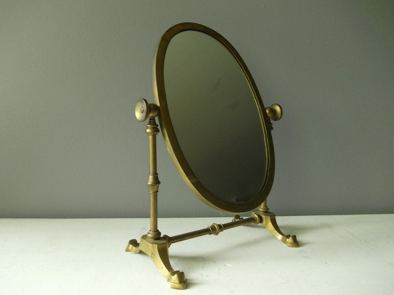 Standing Vanity Mirror  Vintage Brass Oval Mirror On Swivel - Mirror on a stand vanity