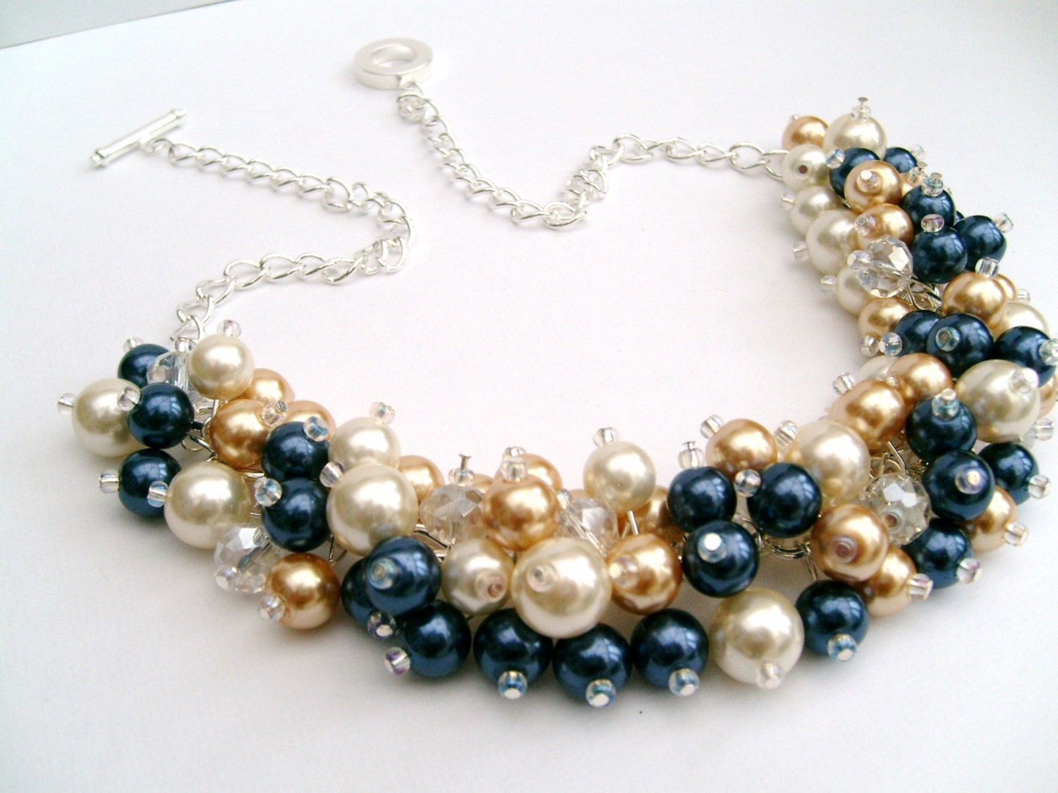Ivory Navy Gold Beaded Necklace Bridesmaid Jewelry Cluster