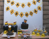 Construction Birthday Party Package - Dump Truck Decorations - Birthday banner - Trucks cupcake toppers - Construction Tool Handyman Tags