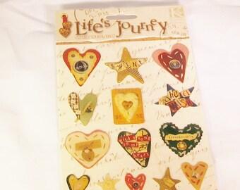 Life's Journey, stars, hearts, stickers, bubble, C, destash