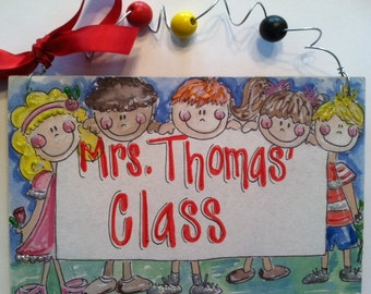 Hand Personalized teacher classroom name sign with cute kids