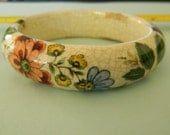 Made in Japan - Porcelain - Thick - Bracelet - Floral Pattern - UNIQUE - FREE Shipping