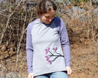 Fuchsia tree Raglan sleeve hemp & organic cotton shirt
